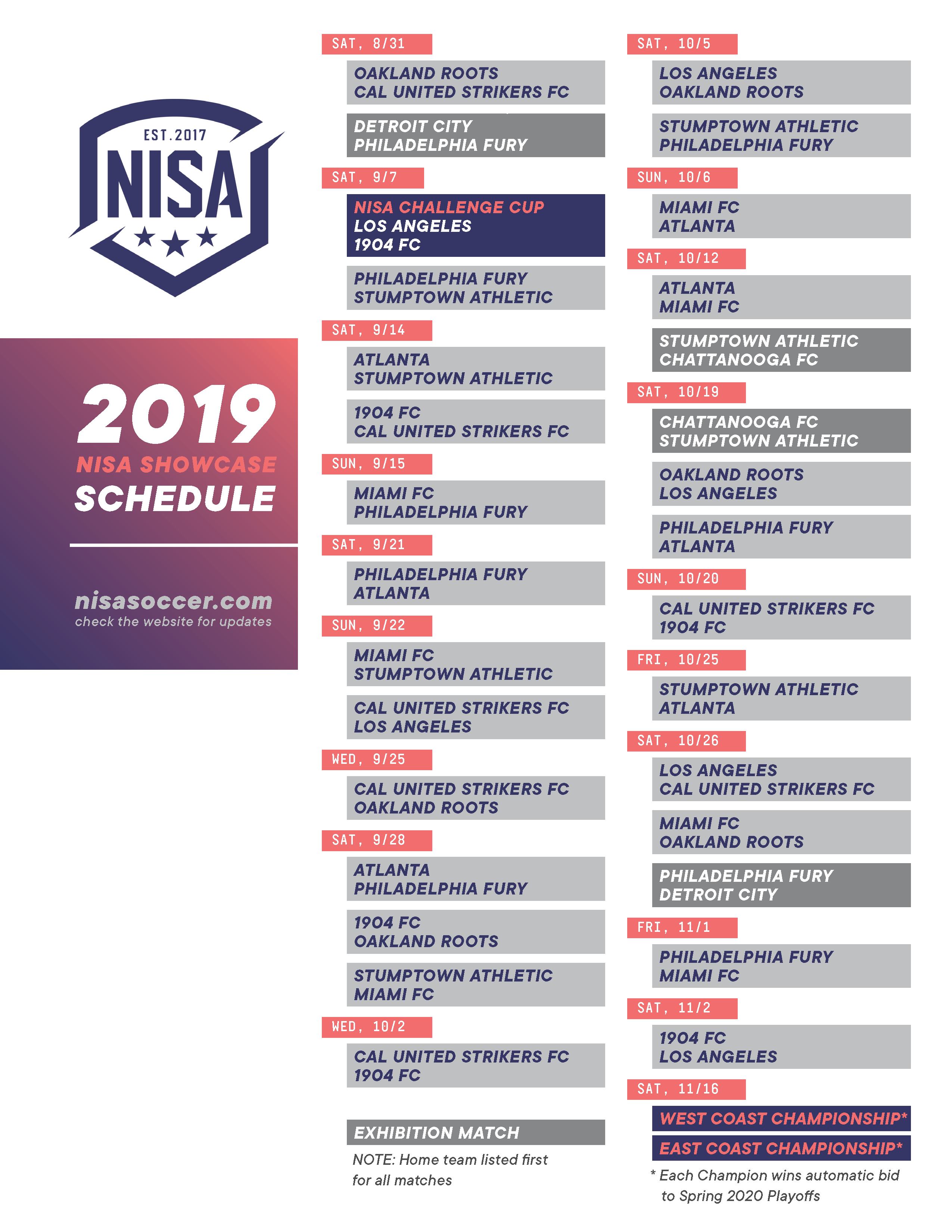 NISA Announces Fall \'19 Schedule | National Independent